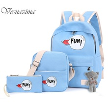 Blue funny backpacks for girl purple print graffiti set bags for school casual cross body phone bag pink pencil holder WM125YL