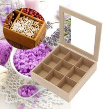 Square Natural Wood 9 Slots Tea Box Essential Oil Bottles Storage Box Hinged Glass Lid Sundries Organizer Holder Container
