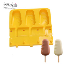 1PCS Silicone Molds 3 Cavities Half Stripe Shaped Fun And Original Ice Cream Mould With 20CS Stick(China)