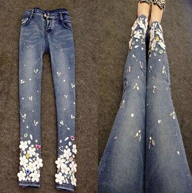 Denim Skinny Cotton Women Jeans New Spring  Jeans Womens Rhinestone Feet Pencil PantsÎäåæäà è àêñåññóàðû<br><br>