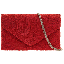 New Classy Lace Clutch Envelope Bag Bridal Designer Ladies Evening Party Prom, Black Silver Apricot Navy blue Red White Purple(China)