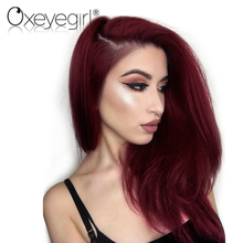 Oxeye girl Burgundy Brazilian Hair Weave Bundles 99J Red Straight Hair Bundle Non Remy Human Hair Extensions Can Buy 3-4 Bundles(China)