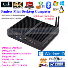 Fanless System 16GB DDR3 256GB SSD 1TB HDD Preinstalled Linux Ubuntu Mini PC Thin Client Terminal with Intel Core i7 4500u