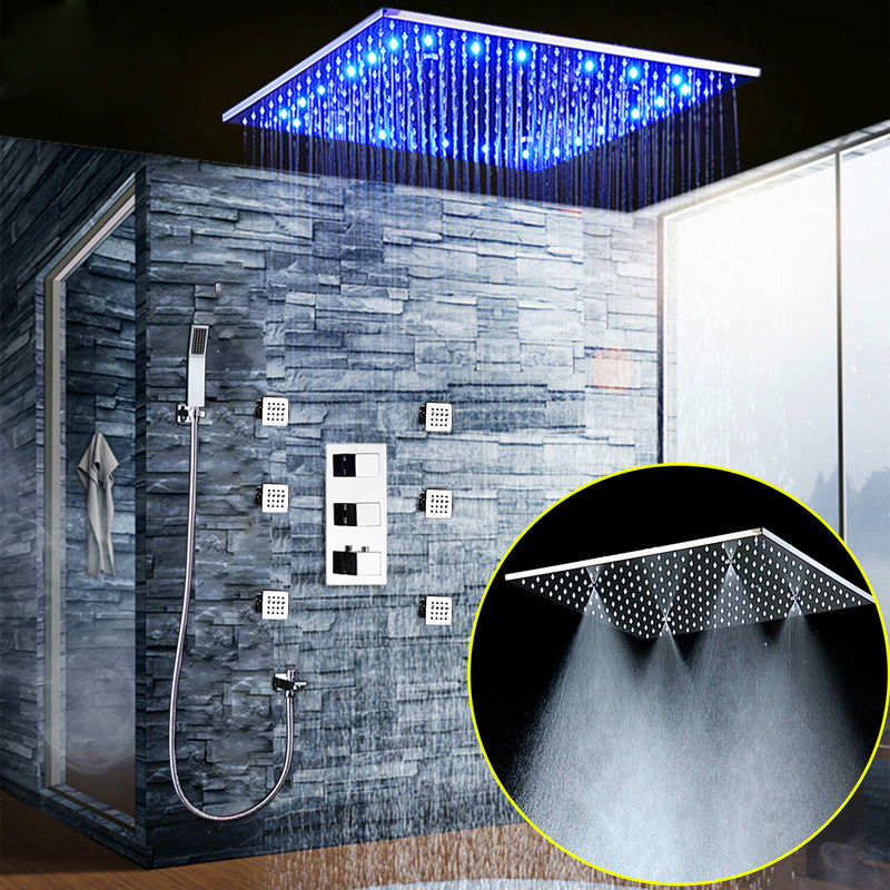Luxury Rain And Mist Ceiling 20'' Shower Head LED Shower Set Faucets Tap Shower Kit With 6 Body Jet and Thermostatic Mixer Valve(China (Mainland))