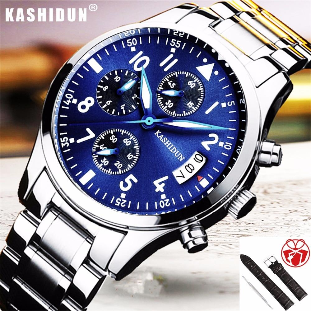 relogio masculino KASHIDUN Mens Watches Top Brand Luxury Sport Quartz Watch Men Business Stainless Steel Waterproof Wristwatches<br>