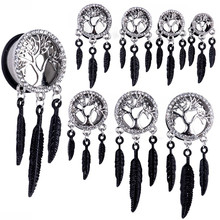 1 Pair Fashion Surgical Steel Crystal Tree of Life Hollow Leaf Dangle Screw Ear Plug Saddle Flesh Tunnel Ear Gauge Expander