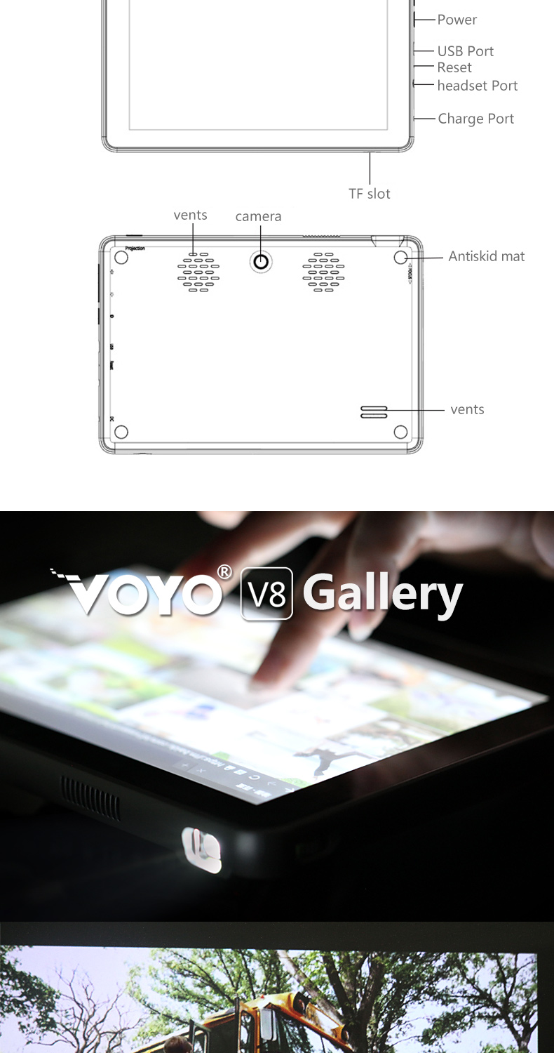 8″Voyo Tablet PC V8 Android 5.0 lolipop Projector 2in1 Screen 120″ inch Octa core 1G RAM 16GB ROM 1200*800 Resolution