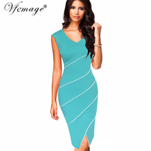 Vfemage Womens Elegant Contrast Patchwork Front Slit Striped Vintage Work Business Casual Party Slim Bodycon Pencil Dress 7003(China)