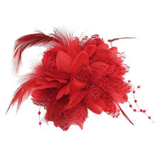 Feather Flower Bead Wrist Corsage Brooch Hairband Pin Headpiece Hair Clip Bridal Fascinator Accessories Headwear New Bridal Red