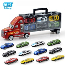 Hot New 12PCS High Quality Car Baby Children Tractor Gift Cheap Toy Alloy Wheels Car Educational dinky Toy Simulation Model Gift(China)