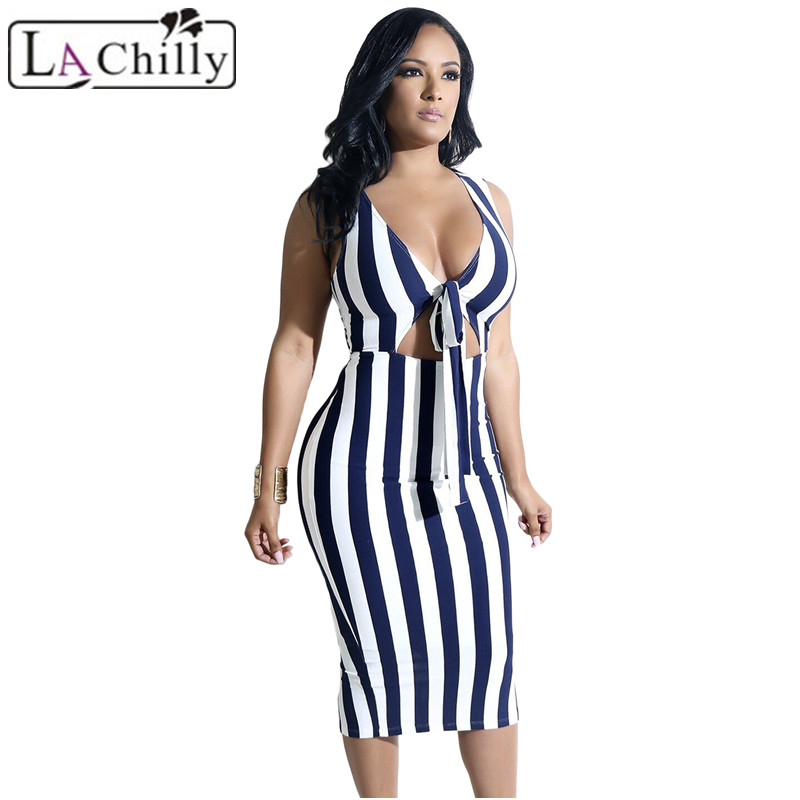 Navy-Striped-Knot-Cutout-Front-Slit-Midi-Dress-LC610244-5-28106