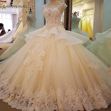 Buy LS00058 Gorgeous champagn bridal gown lace beading cap sleeves ball gown lace wedding dress vestidos de noivas real photos for $339.65 in AliExpress store