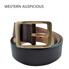 WESTERN AUSPICIOUS Leather Belt Men With Fashion Brass Buckle By Factory