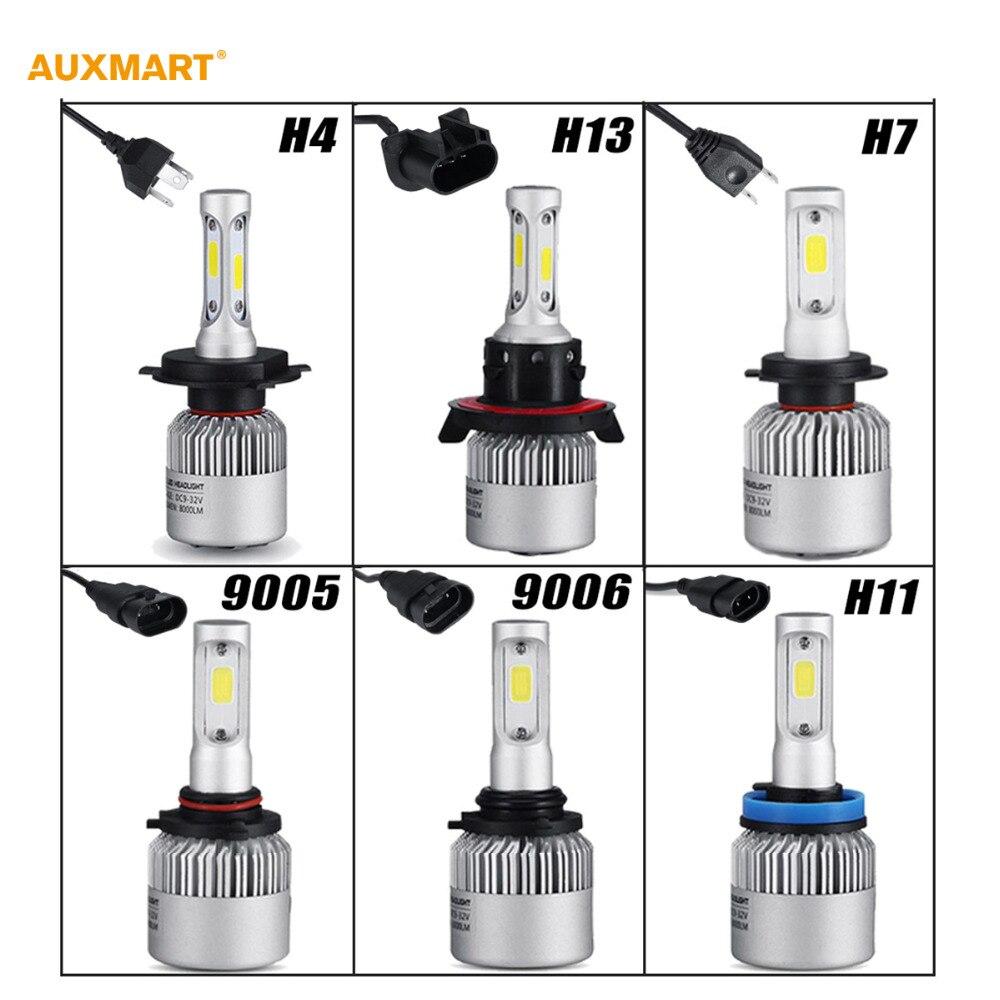 Auxmart H4/H7/H11/H13/9005/9006 COB 72W LED Car Headlight Bulb 6500K 8000LM Fog lamps for Toyota Honda Ford Chevrolet Nissan GMC<br><br>Aliexpress