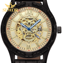 NEW!SEWOR 2017 Fasion Snoring head skeleton logo two color stopwatch digital design automatic mechanical mens watch GLOD C364(China)