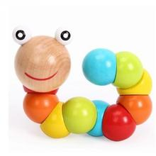 1pc Montessori Learning Education Multicolour Magical Twisting Insect Child Toy Wooden Puzzle Baby train Fingers Flexibility