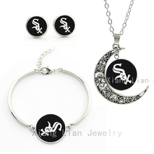 Popular American league baseball team jewelry sets case for Chicago White Sox necklace earrings bracelet women jewelry set M03