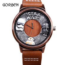 Fashion anime STAR WARS Sports Watch for Men Casual Leather strap Quartz Men Wristwatch for fans Boys Gifts Relogio Masculino(China)