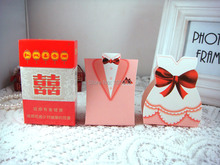 The bride 50pcs+50pcs groom Western Dress Happiness Wedding Favor Boxes gift box Personality and Creative Candy Box(China)