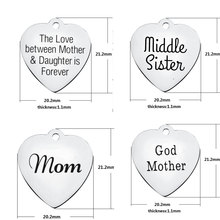 10pcs 20mm lettering Little Sister God mother Princess charm heart pendants tag Stainless steel DIY jewelry accessories(China)