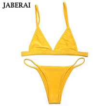 Jaberai Yellow Swimwear Women Bikini Set 2017 Swimwear Biquini Sexy Swimsuit Adjustable Bathing Suit Seamless Bottom Thong QE924