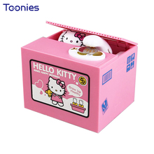 Electric Music Stealing Money Box Cat Mini Coin Bank Christmas Dolls Creative Gift Safe Box Toy Cute Cartoon Plastic Piggy Bank(China)