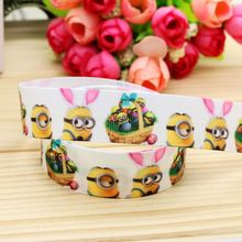 7/8'' Free shipping easter minions printed grosgrain ribbon hair bow headwear party decoration wholesale OEM 22mm H4574