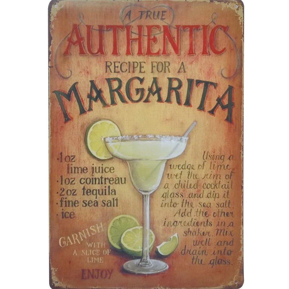 AUTHENTIC MARGARITA COCKTAIL Metal Tin Neon Sign Vintage Plaque Decor PLate Alcohol Wine Board for Music Pub Bar SPM14 20x30 cm(China (Mainland))