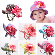 2017 Hot Beautiful Cotton Fitted Floral Sunhat Baby Girls Hat 8-36 Months Children Bucket Hats Baby Clothing Accessories