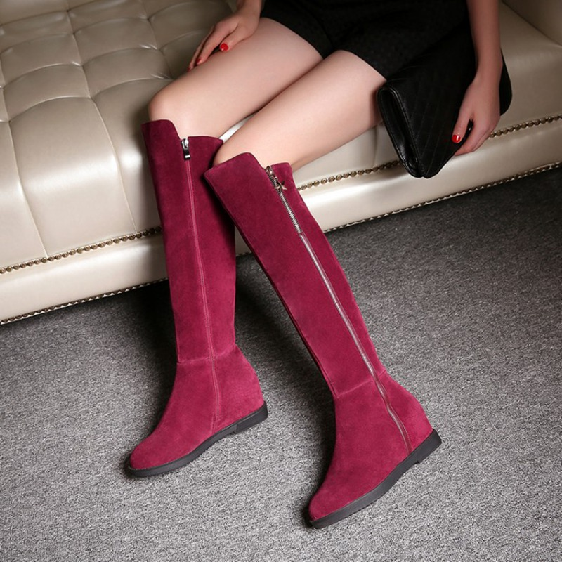 2016 Winter New Warm Beautiful Black Wine Red Cowhide Suede Round Toe Increased Inner Fashion All-match Knee High Boots Women<br><br>Aliexpress