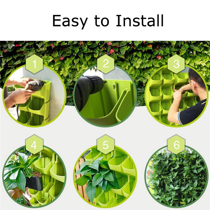 Stackable 2-Pockets Vertical Wall Planter Self Watering Hanging Garden Flower Pot Planter for Indoor/Outdoor 12