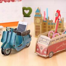 Personality Diy Paper Pen Holder Bus Piano Motorcycle Stand For Pens School Chancery Desk Accessories Office Tools Dd1771(China)