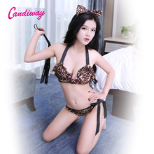 Buy candiway Sexy Lingerie Sexy Costume Babydoll Tiger Cat uniform Bikini Cosplay animal porn crotchless panties robe sexy club