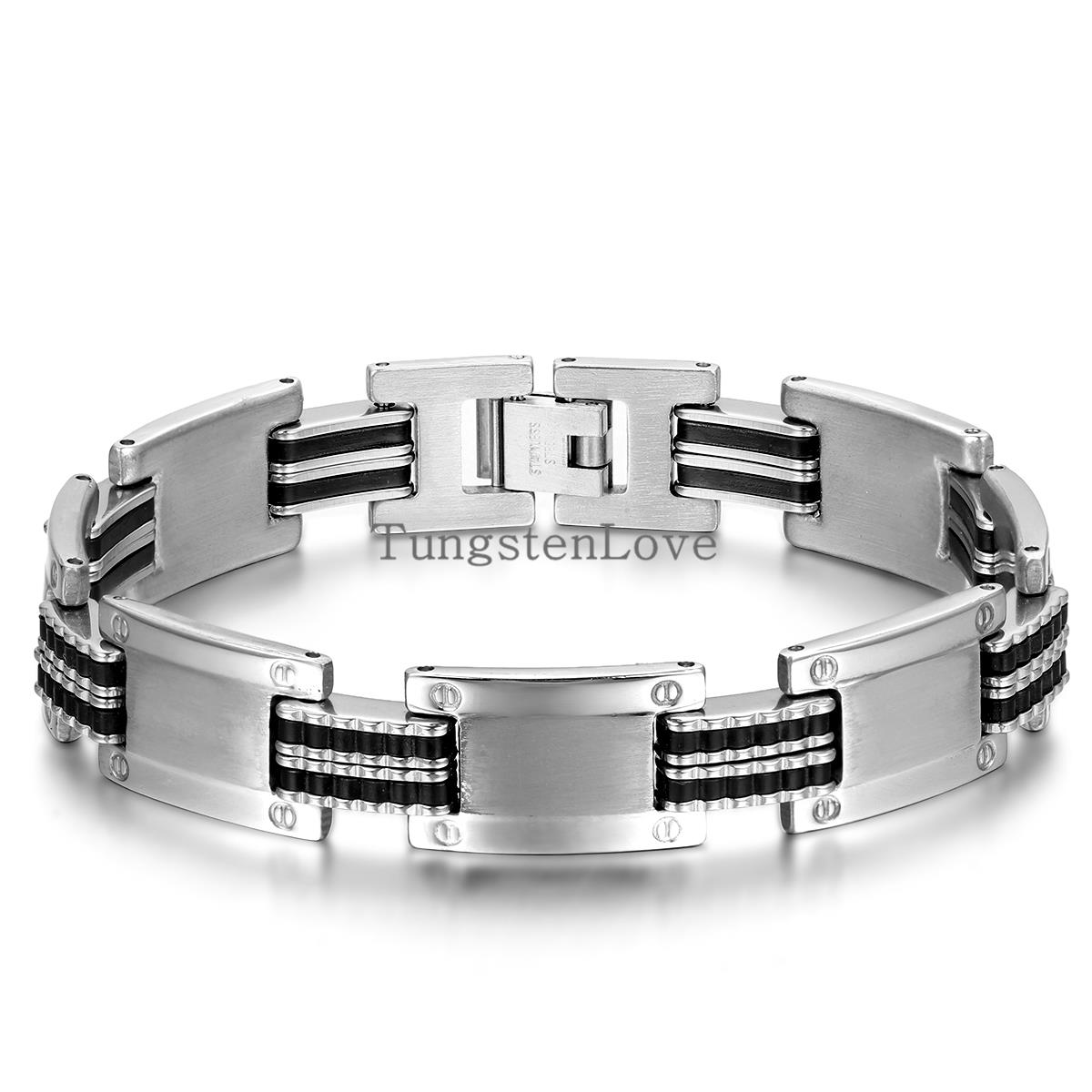 22*13cm Men Jewelry Punk Style 316l Stainless Steel Rubber Mens Link Chain  Bracelets