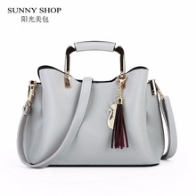 SUNNY SHOP 2017 Korean Stylish Tote Bag Fashion Sling Shoulder Bags With Charm Ladies Hand bags Designer Handbags High Quality(China)