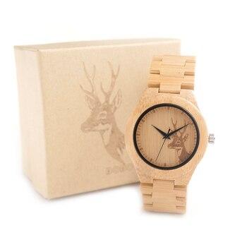 BOBO OISEAU E04 Nouvelle Célèbre Marque Femmes Cerf En Bois Bambou Montre-bracelet Style Vestimentaire Féminin Dames Relojes De Marca Relogio cadeau