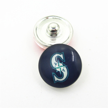 20pcs/lot MLB Team Seattle Mariners Snap Button Charms DIY 18mm Baseball Sports Ginger Snaps Bracelets Necklace Jewelry