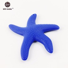 Let's make Silicone Star Blue(1PC)Toddler Teething Necklace Decor Montessori Sensory See Star Toys Baby s Jewelry Craft Beads