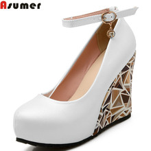 Asumer new High Heels Wedges Summer Women Pumps Casual Dress Wedding Shoes Elegant Rhinestone Platform Shoes Woman(China)