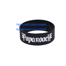 "PAPA ROACH Silicone 1"" Wide Filled in Colour Debossed Wristband Bracelet"