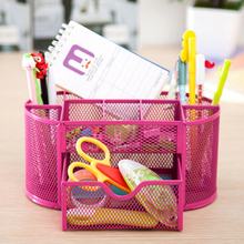 New Multifuction Stationery Desk Organizer 9 cells Metal Mesh Desktop Office Pen Pencil Holder Study Storage