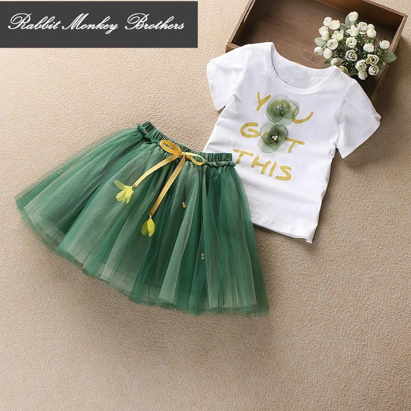 Girls Summer Princess skirt sets girls clothes Cotton flower accessories short sleeve T-shirt + Short skirt two pieces set<br>