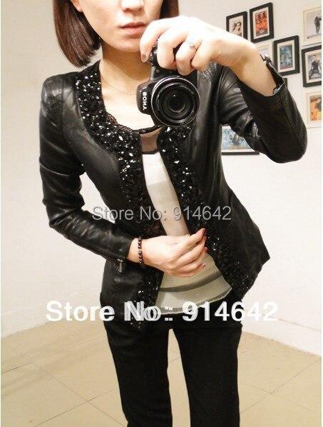 Hot sale!!! free shipping! 2015Women's Korea Fashion PU Leather Jacket Stick a drill Slim Coat ,004