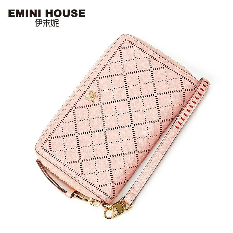 EMINI HOUSE Hollow Women Long Wallet Split Leather Women Wallets Zipper &amp; Hasp Wallet  Lady Purse Coin Purse Organizer Wallets<br>