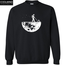 COOLMIND Brand top quality fashion casual New Print Develop The Moon men fleece hoodies casual crewneck sweatshirt