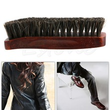 Hot Selling Professional Natural Bristle Horse Hair Shoe Shine Polish Buffing Brush Wooden APR17(China)