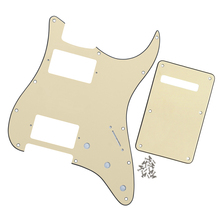 3Ply Electric Guitar Pickguard Scratch Plate 11 Holes HH & Back Plate for FD Strat ST Style Guitar Parts & Accessories,Cream