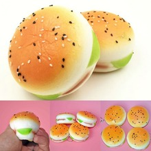 5CM Sesame Squishy Hamburger Phone Straps Bread Scent Soft Bun Charms Key Chain Food Collectibles Toys Simulation(China)