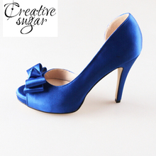 Creativesugar Handmade royal blue color satin D'orsay bow pumps wedding party prom pumps dress shoes bridal heels something blue