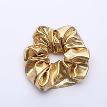 2pcs Hair Scrunchies Women Hair Accessories Gold Black Rubber Band Hair Rope Scrunchie Ponytail Holder Hair Tie Band(China)